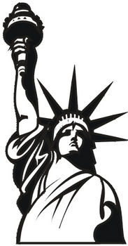 Free Clipart Illustration Of The Statue Of Liberty Black And White