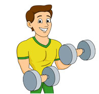 Free Clipart Strong Man Dumbbell. Man Exercises Arms With .