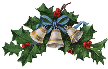Free Clipart Vintage Christmas Bells Holly Mistletoe u0026middot; «