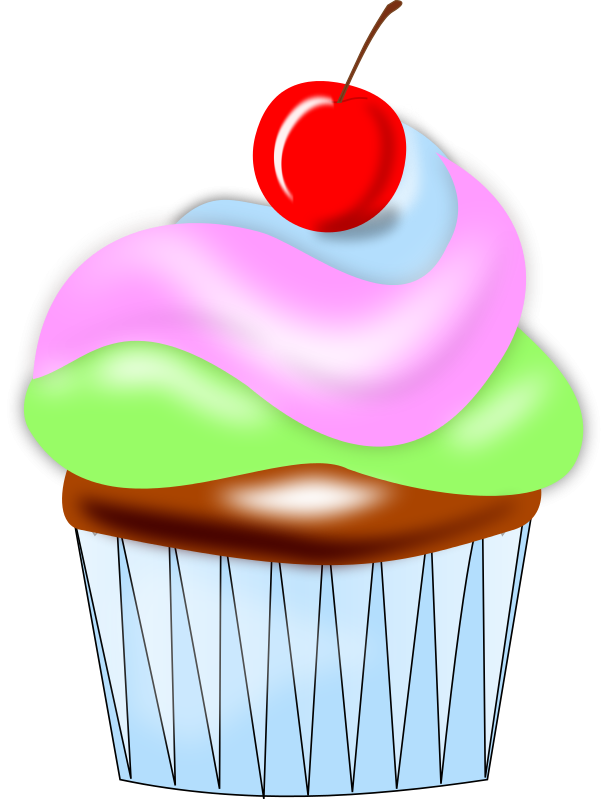 Free Colorful Cupcake With Cherry Clip A-Free Colorful Cupcake with Cherry Clip Art-11