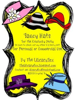 FREE Derby Hats for the Kentucky Derby Matches KY Derby Clip Art Set
