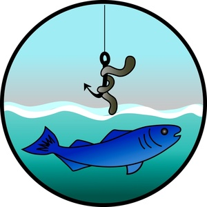Free Fishing Clip Art Image: Fish hook with a nightcrawler or worm hanging over a fish in the water | Care Package Ideas | Pinterest | Fish hook, ...