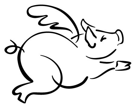 free flying pig clipart   Flying Pig Outline   Pigs   Pinterest   Tattoo images, Love this and Drawings