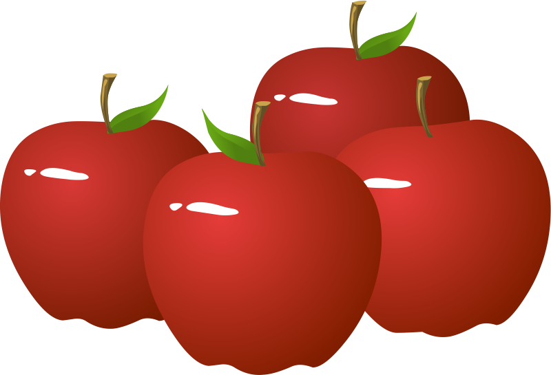 Free Four Shiny Red Apples Clip Art