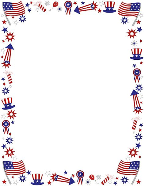Free fourth of july border te - Flag Border Clip Art