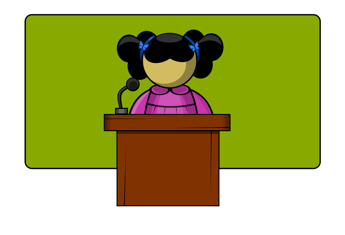 Free Girl Student Public Speaking Clip Art