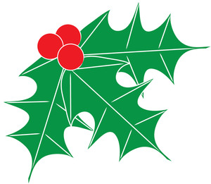 Free Holly Clip Art Image: Clip Art Image Of Holly Leaves With Red Berries
