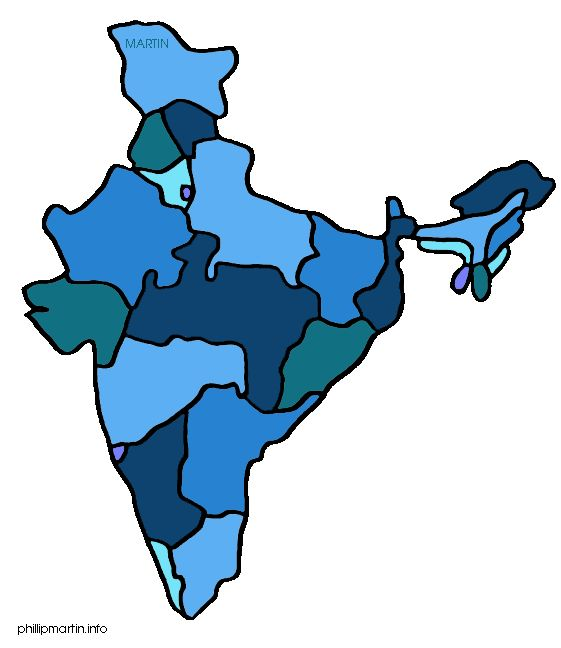 Free India Clip Art By Phillip Martin, M-Free India Clip Art by Phillip Martin, Map of India-2