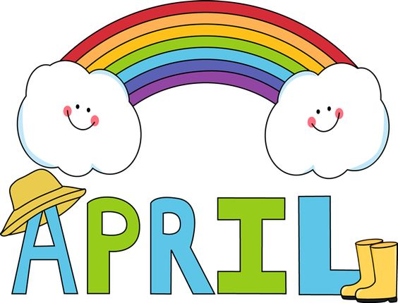Free Month Clip Art | Month of April Rainbow Clip Art Image - the word April