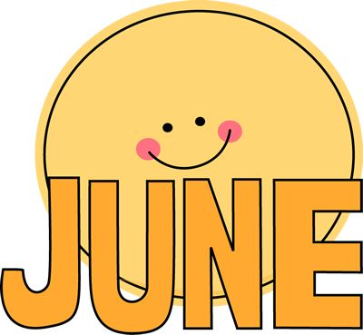 Free Month Clip Art | Month of June Sun -Free Month Clip Art | Month of June Sun Clip Art Image - the word June-19
