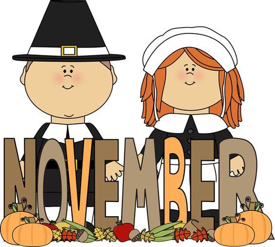 Free Month Clip Art | Month of November Pilgrims Clip Art Image - the word November