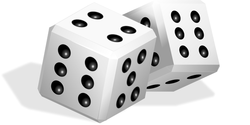 Free Pair of White Dice Clip Art