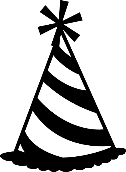 Free Party Hat 2 Clip Art. black and white party% .