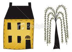 Free Primitive Clip Art | Primitive Folk-free primitive clip art | Primitive Folk Art House and Willow Royalty Free Stock Vector Art-8