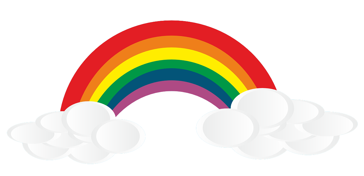 Free Rainbow with Clouds Clip Art