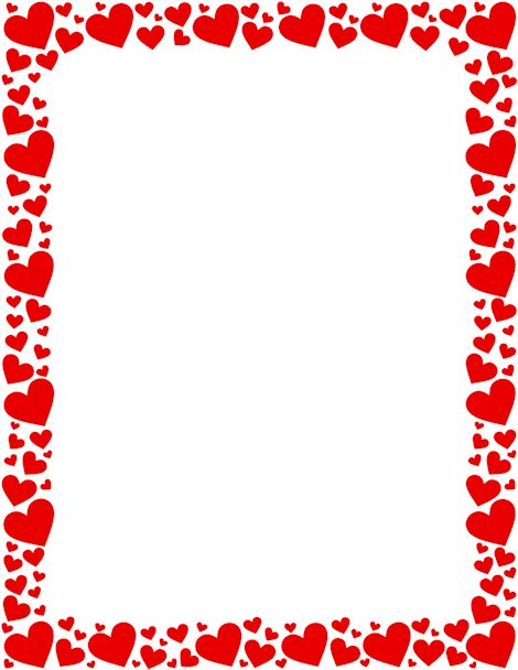 Free red and pink heart border templates including printable border paper and clip art versions. File formats include GIF, JPG, PDF, and PNG.