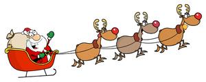Free Reindeer Clip Art Image: Reindeers Pulling Santau0026#39;s Sled or Sleigh
