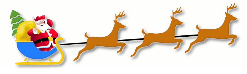 Santa Sleigh And Reindeer .