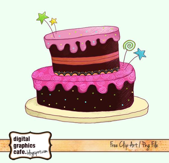 Free scrapbook cake clipart .