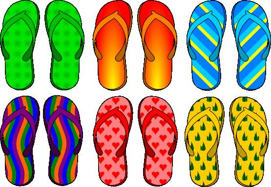 Free Set of Six Flip Flops Clip Art