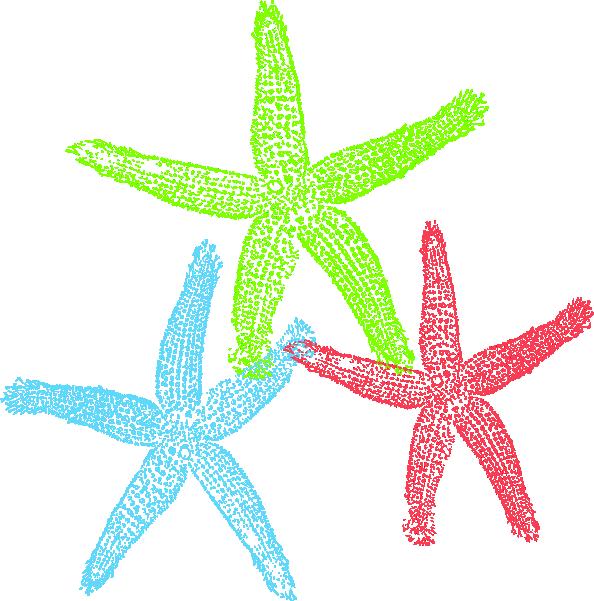 Free Set of Three Colorful Starfish Clip Art