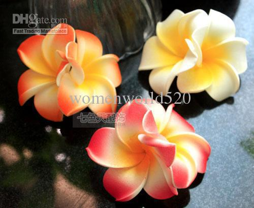 free shipping 1000pcs Hawaiian foam Plumeria Flower hair clips mix color  Frangipani flower clips