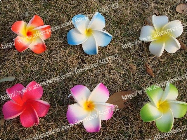 Free Shipping 100pcs Hawaiian Foam Plume-free shipping 100pcs Hawaiian foam Plumeria Flower hair clips mix color  Frangipani flower clips(China-7