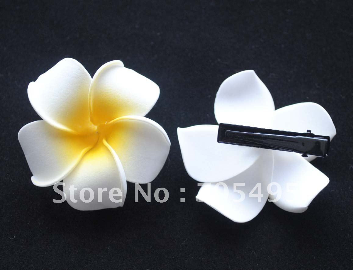 FREE SHIPPING 200PCS 6CM PLUMERIA FOAM F-FREE SHIPPING 200PCS 6CM PLUMERIA FOAM FLOWER HAWAIIAN FOAM FLOWER HAIR  FLOWER WITH CLIPS-8