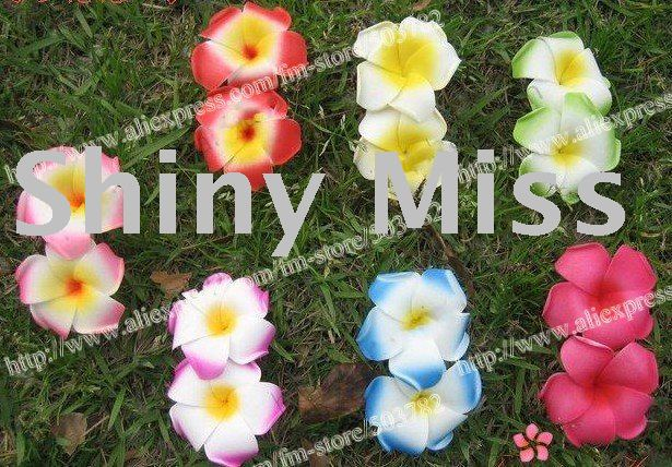free shipping 90pcs Hawaiian foam Plumeria Flower hair clips mix color  Frangipani flower clips(double