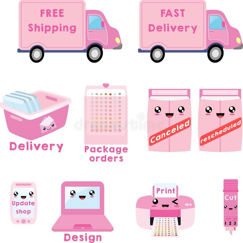 Delivery And Printer Clipart Vector, Fre-Delivery and printer clipart Vector, free shipping clipart, canceled,  rescheduled. Great for planner stickers or scrapbooking.-2