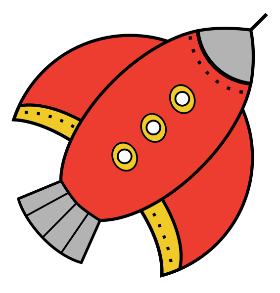 Free Simple Red Rocketship Cl - Rocketship Clipart