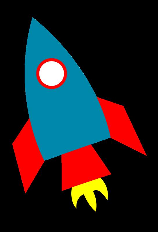 Blue Rocket Ship clip art - v