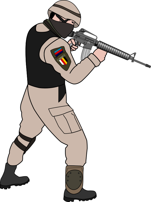 Free Soldier Pointing Gun Clip Art