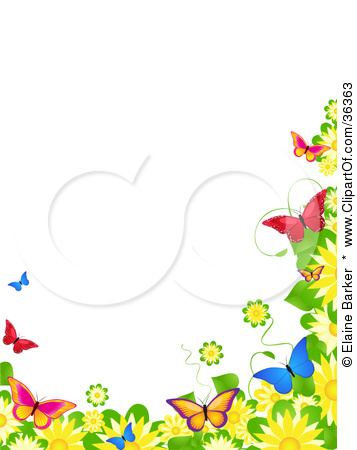 free spring clipart. Spring Butterflies Border .