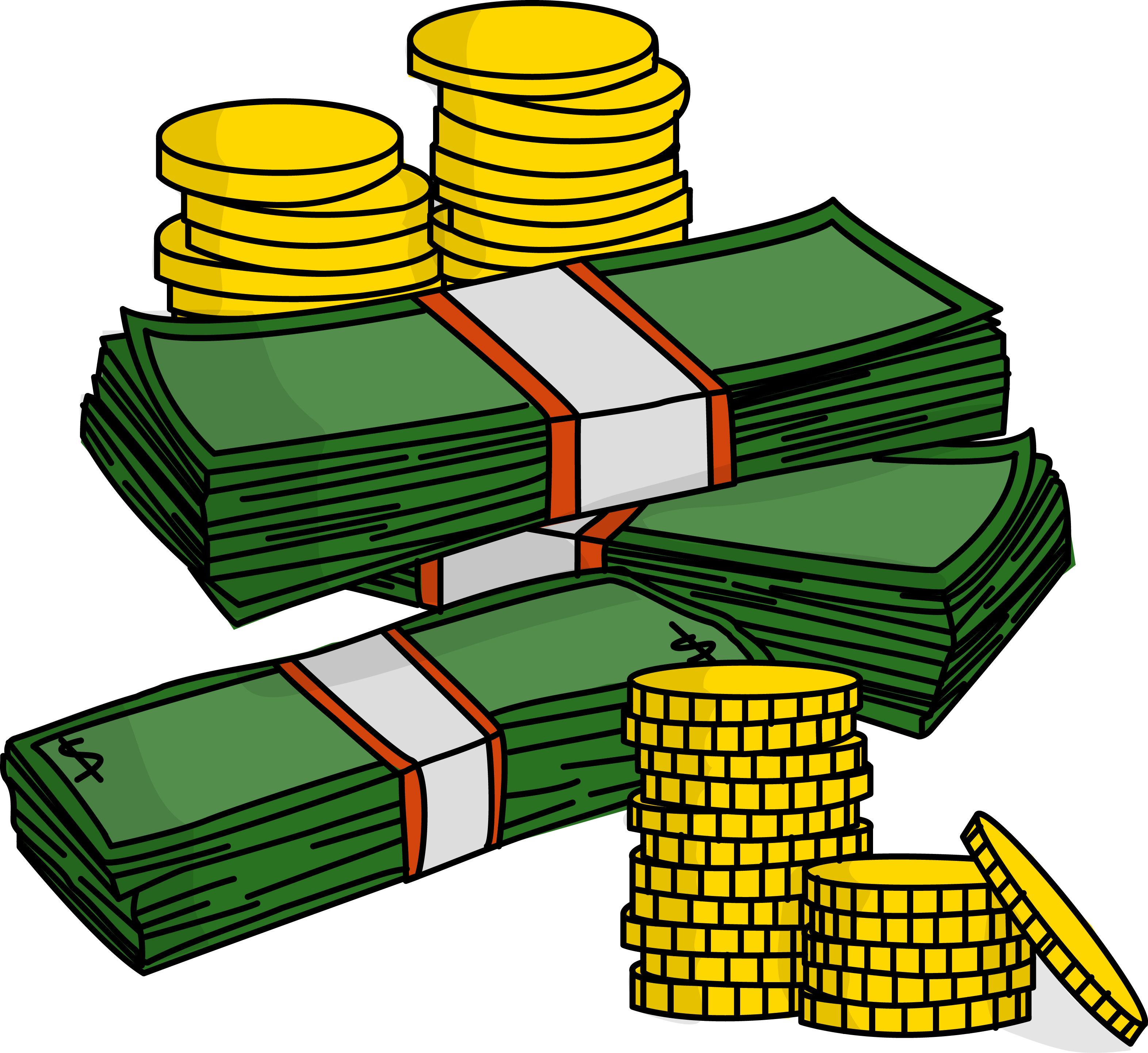 Free Stacks Of Money With Coins High Resolution Clip Art | All ..