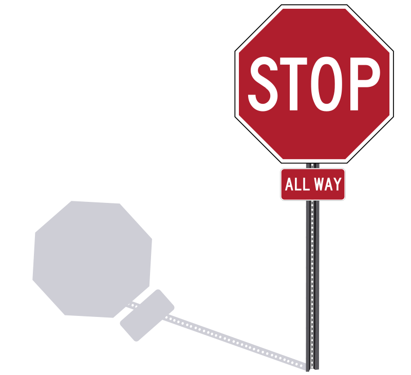 Free Stop Sign on a Post Clip Art