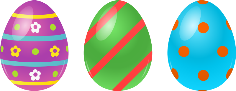 Free Three Colorful Easter Eggs Clip Art