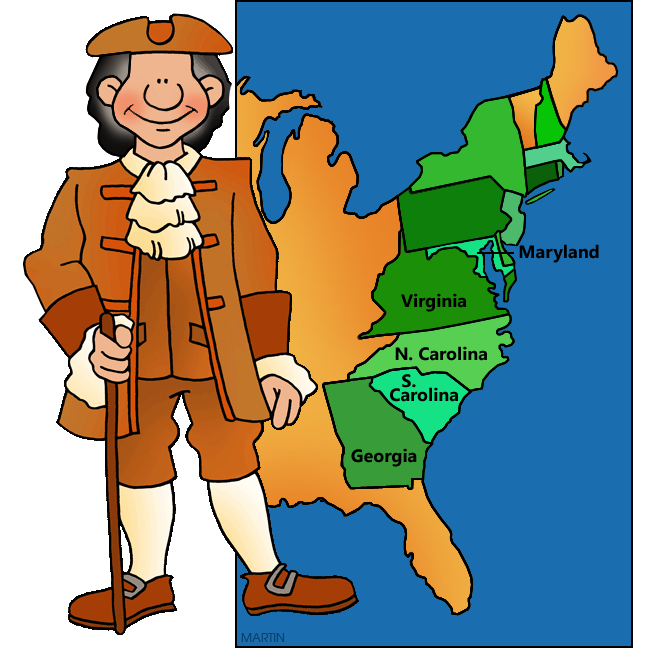 Free United States Clip Art by Phillip Martin, Southern Colonies
