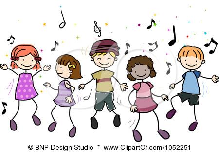 Free Vector Clip Art Illustration Of Doodled Children Dancing To Music