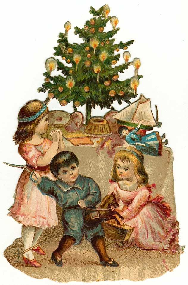 ... free vintage Christmas clip art -- Victorian children with Christmas tree and toys ...