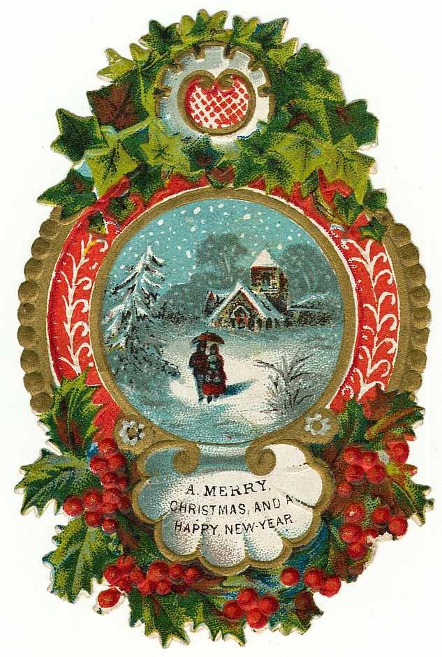 ... free vintage Christmas images -- border snow scene