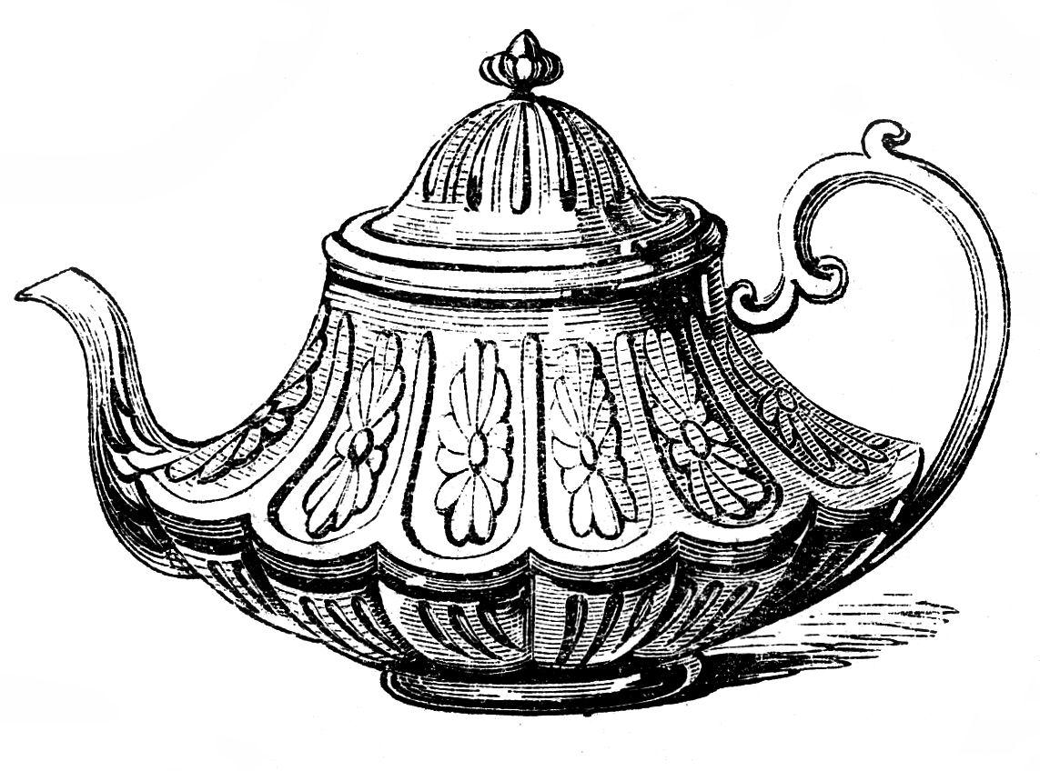 Free Vintage Clip Art U2013 2 Ornate Tea-Free Vintage Clip Art u2013 2 Ornate Teapots-2