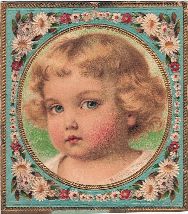 Free Vintage Clip Art u2013 Darling Toddler with Floral Frame