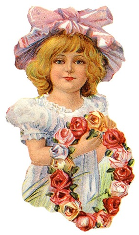 ... free vintage clip art mothers day little girl in hat with flower wreath ...