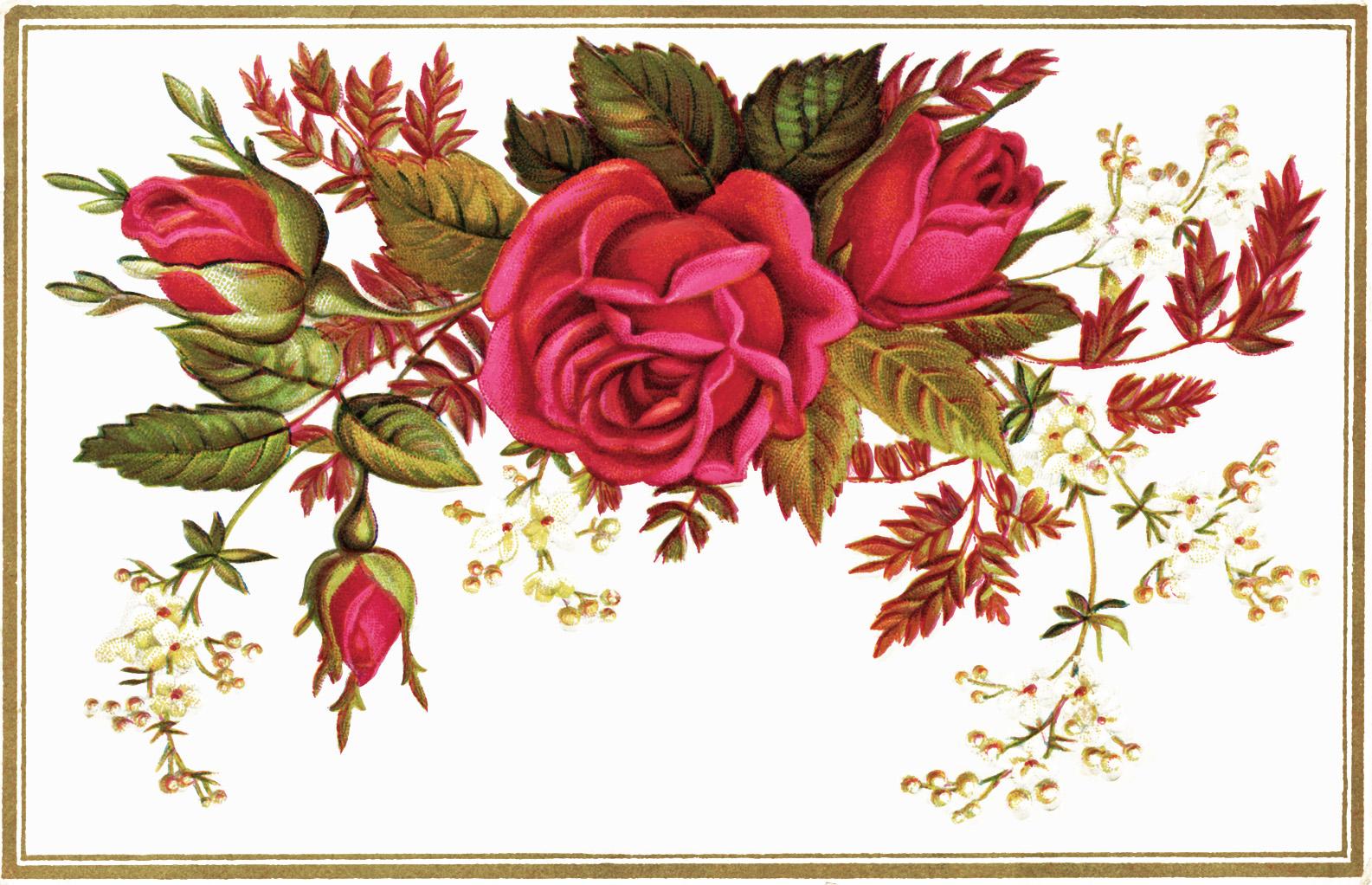 Free Vintage Flower Clip Art Flowers Old Design Shop Blog Image