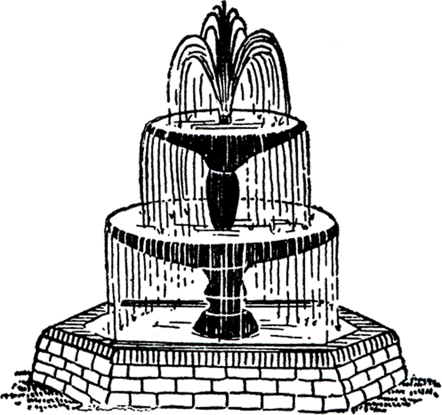 Free Vintage Fountain Clip Art!-Free Vintage Fountain Clip Art!-1