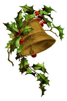 Free Vintage Free Christmas clipart - A -Free Vintage Free Christmas clipart - A Bell and Holly-19