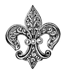 Free Vintage Image ~ Fleur de Lis Pin with Pearls Clip Art