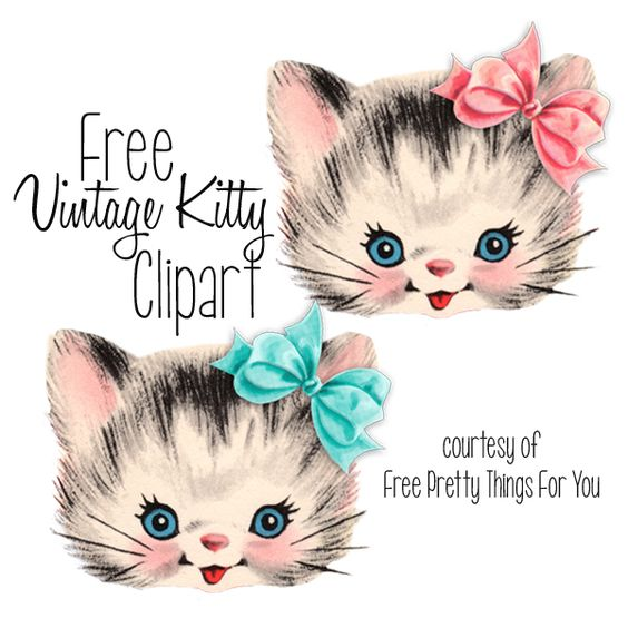 Free Vintage Kitty Cat Clip a - Kitty Cat Clip Art