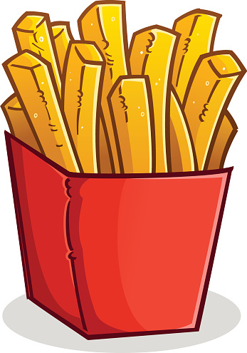 French Fries in a Box Cartoon vector art illustration